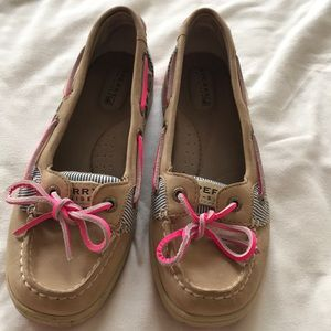 Sperry's Top-Siders size 6M pink and cheetah print